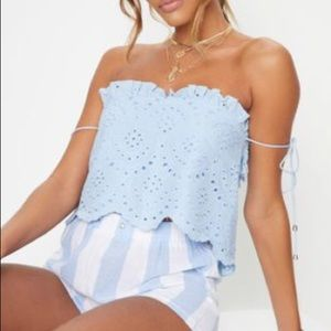 Blue Broderie Anglaise Frill Detail Bandeau
